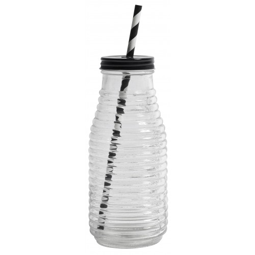 Glass bottle w. black lid, hole for straw